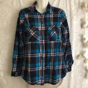 Altar'd State plaid teal shirt with lace back sz S